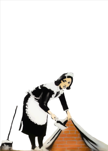 banksy plakat med cleaning lady