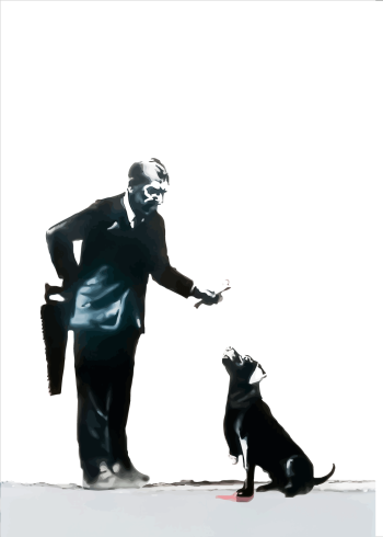 man with dog banksy plakat