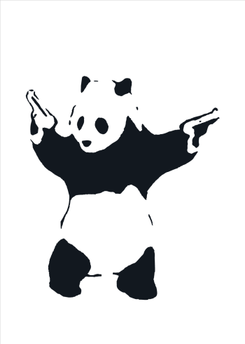 banksy panda with guns