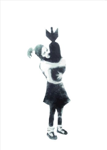 street art girl hugging bomb