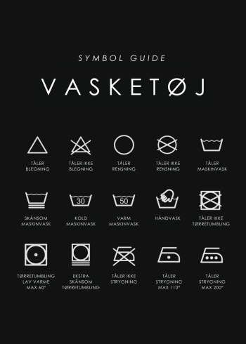 vasketøj guide plakat i sort