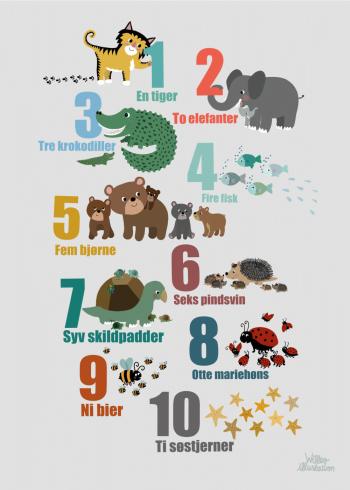 tælle plakat med dyr
