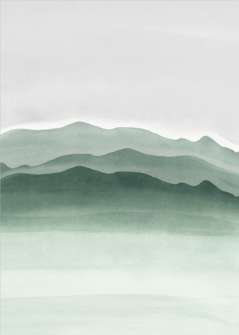 kunstplakat af bjerge og landskab malet med grøn vandfarve