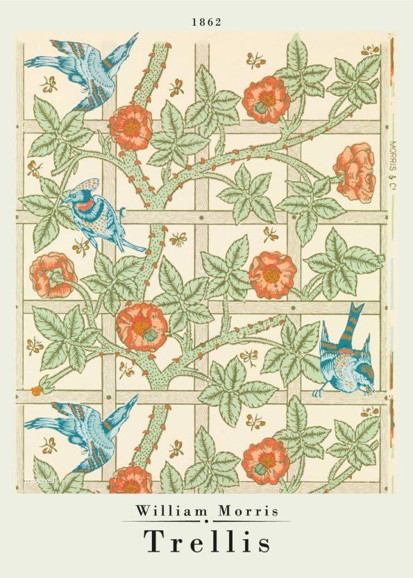 kunstplakat af William Morris med Trellis mønster i de finste grønlige, blålige og røde nuancer