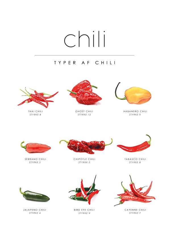 chili guide plakat til køkkenet