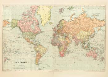 Stor verdenskort plakat med lande
