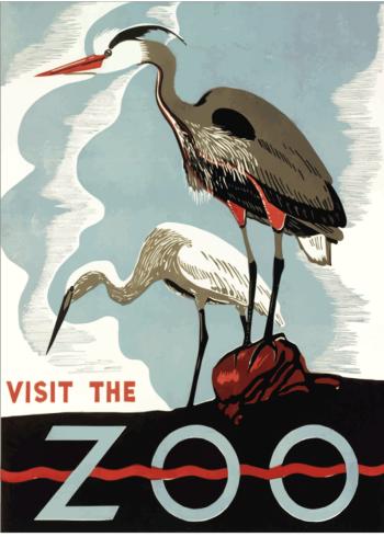 zoo plakater med storke