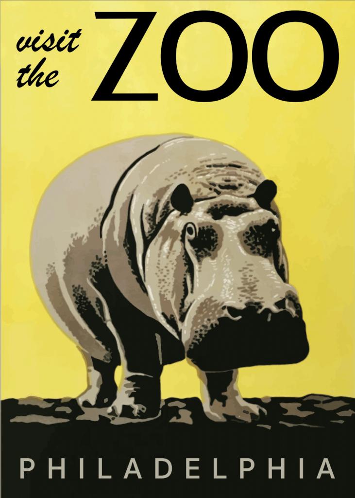 zoo plakater med flodhest i gule farver