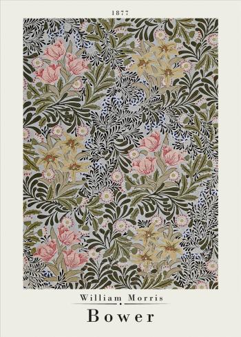 Kunstplaket med William Morris med farverne lyserød og brun
