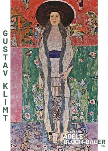 Fint kunstplakat af Gustav Klimt i de finesete farver, hvor man kan tyde en kvinde