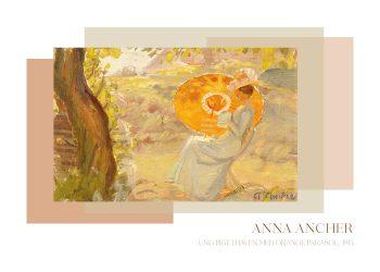 Ung pige i haven med orange parasol, Anna Ancher