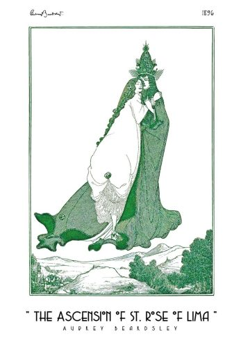 grøn plakat af aubrey beardsley
