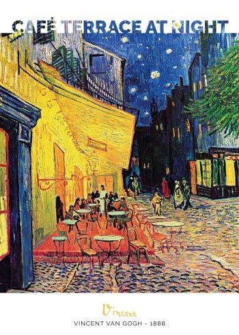 Maleriet forestiller en en nærmest lysende og levende caféterasse på en smuk og stjernerig aften