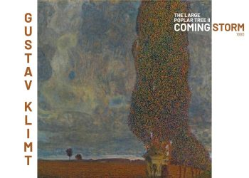 Maleriet forestiller et stort træ i forgrunden med optræk til uvejr i baggrunden
