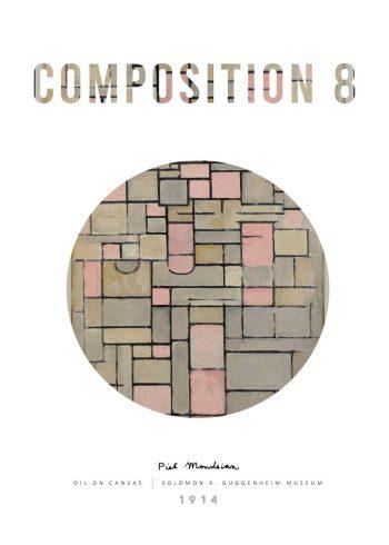 Fineste plakat af Piet Mondrian medværket Composition 8, i de fineste rolige farver, som giver værket en stilren plakat