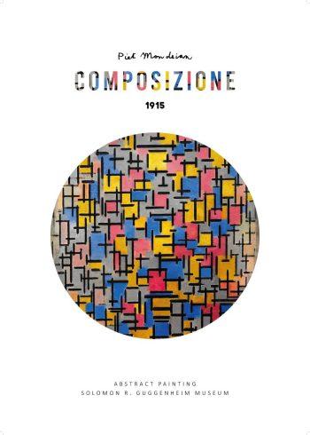 Kunstplakat af Piet Mondrian med værket Composizione I - enkel og fin plakat