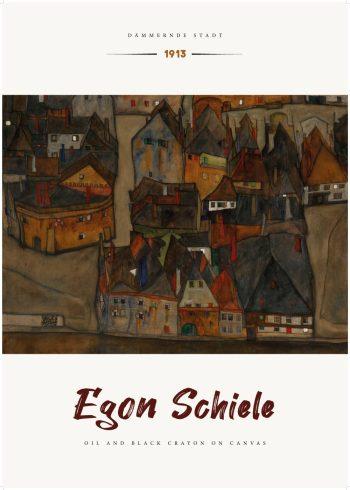 maleriet på plakaten er et landskabsmaleri som forestiller et udsnit af den tjekkiske by Krumau. Billedets nuancer er meget brunlige og mørke, men med enkelte farveflader af hvid som giver billedet en kontrast