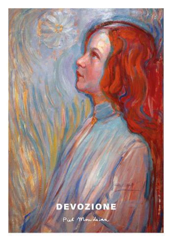 Devozione kunstplakat af Piet Mondrian - farverig kunstplakat med et billede af en pige fra siden