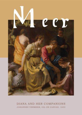 "Museumsplakat med barokmaleriet ""Diana and Her Companions"" af Johannes Vermeer"