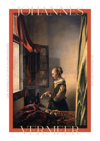 """Museumsplakat med Johaness Vermeers maleri """"Girl reading a letter"""""""