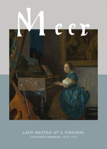"""Museumsplakat med barokmaleriet """"girl seated at a virginal"""" af johannes vermeer"""
