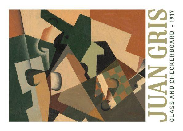 Glass and checkerboard i fra 1917 af Juan Gris i de fineste farver.