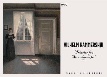 Gengivet kunstplakat af Interiøer fra Strandgade 30. Vilhelm Hammershøi