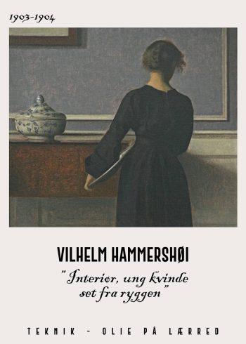 interiør, ung kvinde set fra ryggen af Vilhelm Hammershøi i de fineste mørke nuancer. Kvinden holder ligeledes en porcelæns fad
