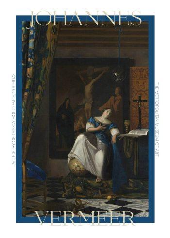 "Museumsplakat med barokmaleriet ""allegory of the faith"" af Johannes Vermeer"
