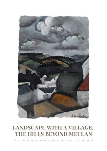Museumsplakat med maleriet Landscape with a village af roger de la fresnaye