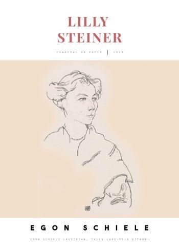 Selve tegningen er et portræt af Schieles kunstnerkollega Lilly Steiner, og er ét af i alt fire portrætter som Schiele lavede af Lilly Steiner