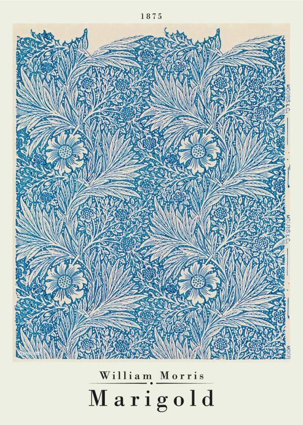 Flot kunstplakat af William Morris, med værket Marigold i de fineste blålige farver. Værket er fra 1875