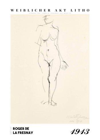 Museumsplakat med værket Weiblicher akt litho af roger de la fresnaye