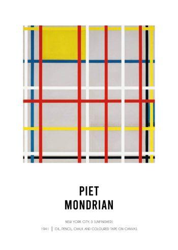 Museumsplakat af Piet Mondrian med værket af New York City 3, farverig plakat