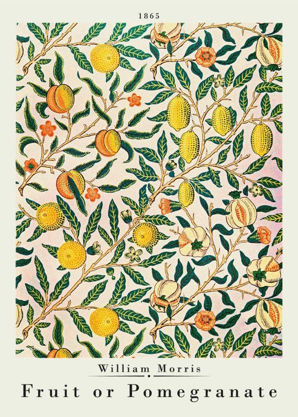 Plakat af William Morris fra 1865. Motivet af plakaten er citroner med grønne blade. Virkelig fin kunstplakat