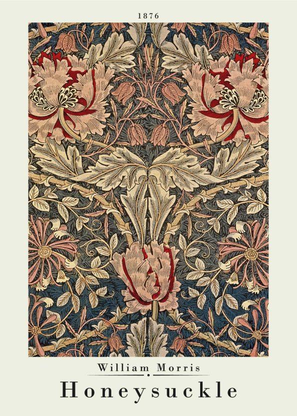 Kunstplakat af William Morris i de brunlige og røde farver