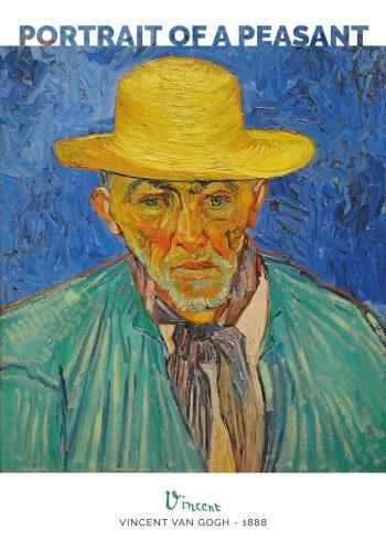 Maleriet er et portræt af en vejrbidt bonde med gul hat og hvidt skæg på en blå baggrund