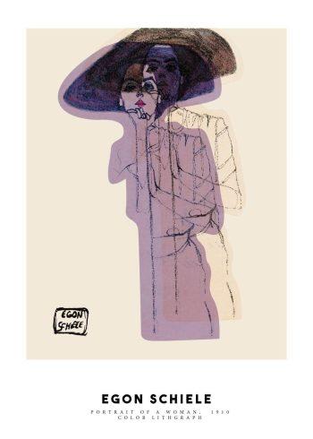 Tegningen er et portræt af en kvinde, som står midt i billedet med med hat på hovedet og rød læbestift