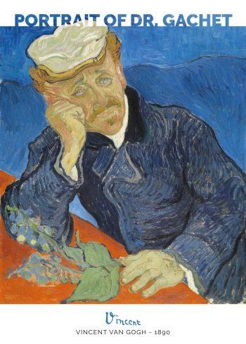 Selve portrættet viser Dr. Gachet foran en blå baggrund, der læner sig henover et bord, hvorpå der ligger en fingerbølblomst.