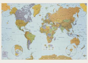 Landkort plakat verdenskort i farver