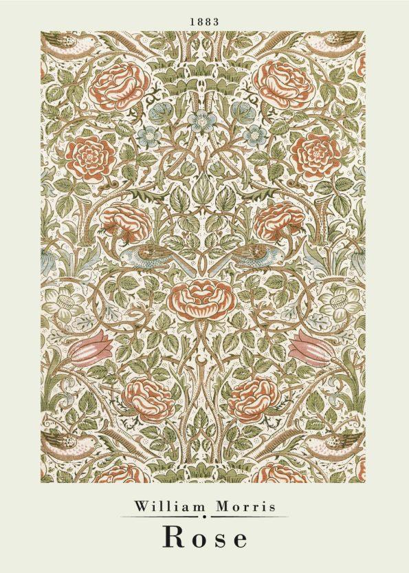 Flot kunstværk af William Morris fra 1883, værket har det fineste mønster til tøj og tekstiler i farverne grøn og lyserød