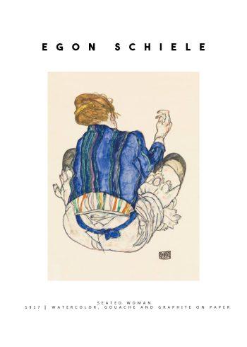 Maleriet forestiller et portræt af en kvinde set bagfra, iført en farverig påklædning