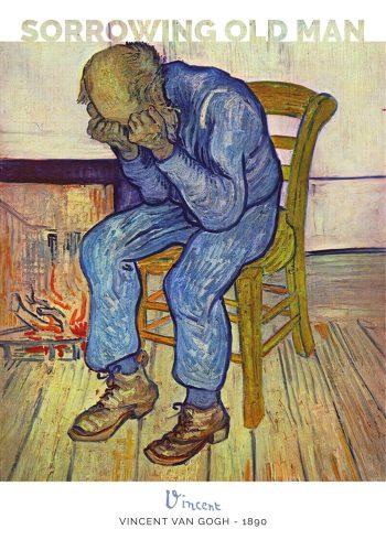 Maleriet forestiller en sorgfuld ældre mand, der sidder på en stol med ansigtet begravet i hænderne i fortvivlelse