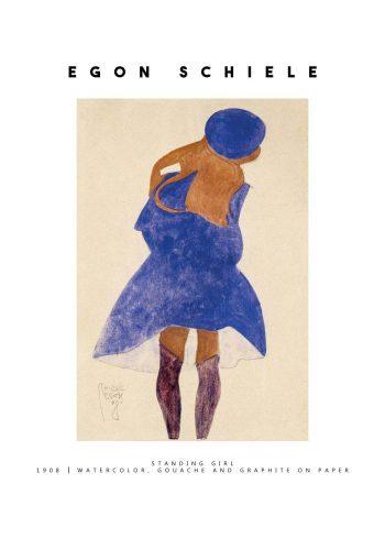 Maleriet er et portræt af en kvinde set bagfra, iført en blå kjole
