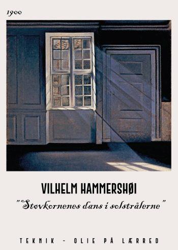 Støvkornenes dans i solstrålerne af Vilhelm Hammershøi, fra 1900. Man kan se hvordan solens lysindfald skærer ind gennem vinduerne.