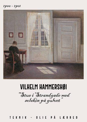 Stue i strandgade med solskin på gulvet af Vilhelm Hammershøi fra 1900-1901. Her ser man en kvinde siddende med ryggen til og hovedet foroverbøjet.