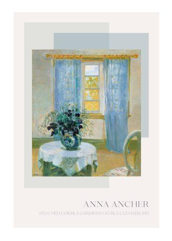 Stue med lyseblå gardiner, af Anna Ancher
