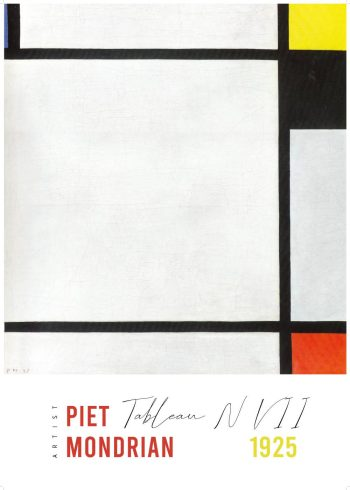 Kunstværk af Piet Mondrian, med værket Tablean N Vll