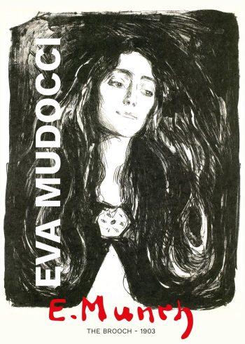 Edvard Munch maleri af Eva Mudocci i sort/hvid