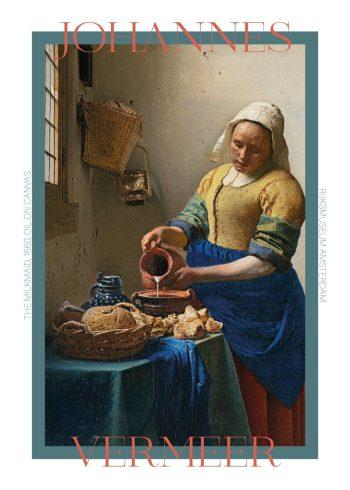 "Museumsplakat med maleriet ""the milkmaid"" af johannes vermeer"